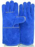 Cowhide Split тяжелых промышленных рабочих кожаные перчатки сварки в Гуанчжоу