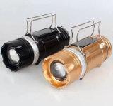Manuelle Großhandelstaschenlampen-&Solar nachladbare kampierende Lampe des Fokus-Fischen-LED