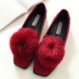 새로운 디자인 Shoes 겨울 동안 편평한 우단 숙녀