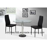 Mesa de vidro de café de qualidade alta com as pernas de aço inoxidável