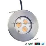 Indicatore luminoso esterno della piattaforma di 3X3w IP65 LED, sotterraneo, indicatore luminoso al suolo del LED