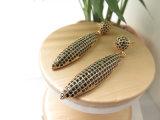 지르콘 돌 석탄 금관 악기 구리 매다는 귀걸이로 도금되는 실제적인 금