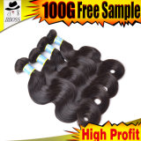 100%Human cheveu, prolonge brésilienne de cheveu d'onde de corps
