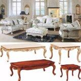 木製のソファーフレームおよびコーヒーテーブル(987A)が付いている贅沢な革ソファー