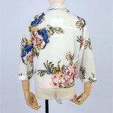 Новые шифон моды цветов печати женщин блузки рубашки длинной втулки
