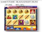 A linha máquina do cavaleiro preto 20 de jogo a fichas da máquina de jogo do entalhe que joga Machine
