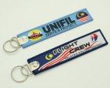 Kundenspezifisches Gewebe Keychain für Gepäck-Marke mit Metallring