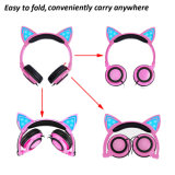 Écouteur de câble mignon d'oreille de chat pour des gosses et des filles