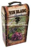 La impresión de doble aspecto de madera decorativos de cuero de PU/caja de vino de almacenamiento de madera MDF