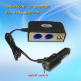Dual USB 5V 3.1AとのBest Quality Car Cigarette Lighter Power Socket