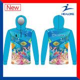 Healong China precios baratos de prendas de vestir por sublimación de engranaje de pesca de los hombres camisas Jersey