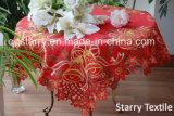Couleur rouge Fh008 de nappe de Noël
