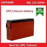 la mejor batería terminal delantera del gel de 12V 200ah para el ferrocarril, telecomunicación, UPS