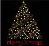 Il disegno dell'albero di Natale di fantasia Caldo-Fissa i Rhinestones