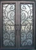 Porte en partie double artistique de luxe de fer travaillé pour la Chambre