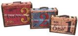S/3 Decoración Vintage diseño antiguo número de la impresión de cuero de PU/cuadro de la maleta de almacenamiento de madera MDF