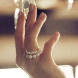 Anéis da corrente de ligação da Ouro-Cor da jóia da Simular-Pérola dos anéis simples