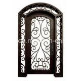ガラスが付いている二重錬鉄のドア