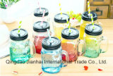 Buntes Glasflaschen-Maurer-Glas mit Griff und Schutzkappen