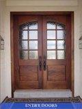 Portello di legno con il portello di legno di vetro/entrata con il disegno classico
