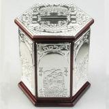 Grande argento placcato con il contenitore di soldi di legno (BW10200DOR)