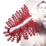밖으로 우아한 Wine Red Handmade Crochet Hollow Palace Flower Tassel Statement Choker Necklaces