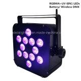 12X12W RGBWA + ULTRAVIOLETA 6in1 LED de la batería PAR sin hilos del punto de la boda de la luz