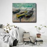 Pittura a olio domestica di arte della decorazione sulla pittura a olio delle barche di Threefishing di arte della parete della tela di canapa