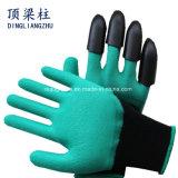 女性軽量手の保護花ポリエステル庭の作業によって着色されるニトリルの手袋