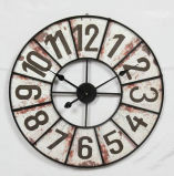 Decorar Numeral Antiguo reloj de pared de metal redondo