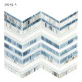 Azulejo de mosaico gris y blanco adaptable del vidrio manchado del suelo del cuarto de baño