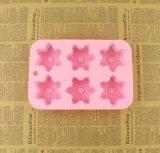 Moulage de savon de silicones de forme de flocon de neige de 6 cavités