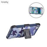 Caja combinada de la pistolera del shell del camuflaje para el iPhone de Apple 8 más con el clip de la correa del eslabón giratorio de Kickstand