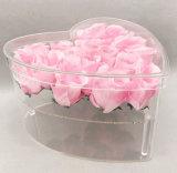 Rectángulo de acrílico en forma de corazón de la flor del claro del regalo de las tarjetas del día de San Valentín para el amigo de muchacha