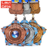 Дешевая выгравированная золотая медаль Matt печатание звезды форменный