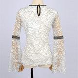 Euramerican 최신 판매 새로운 디자인 형식 긴 소매 백색 레이스 호리호리한 가을 셔츠 블라우스