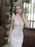 新しい到着の製品の卸売の美しい方法真珠の白いウェディングドレス