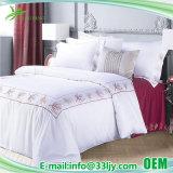 ホテルの刺繍されるの快適で白いサテンの綿の羽毛布団カバー