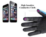 Nuevo deporte de la llegada que sube guantes calientes de la pantalla táctil del paño grueso y suave de la tirantez ajustable antideslizante impermeable de la cremallera