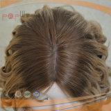 Peluca media rizada rubia del pelo humano del casquillo (PPG-y-00002)