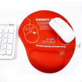 Tapis de souris fait sur commande d'impression de sublimation avec le rouge de coussin de poignet de main de gel