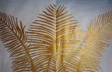 Hojas de Palmera de Oro moderno a lo largo de la luz el cielo azul Óleo sobre tela
