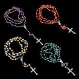 Multi Color rosa el plástico acrílico Plat de la cadena de perlas Collar de Rosario (IO-CR421)