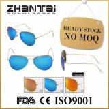 Nenhuns óculos de sol clássicos unisex do espelho de MOQ com lentes de vidro (CLX0002)