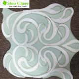 Thassos weißes Mischungs-Glasmosaik-Wasserstrahlmosaik-Fliese für Verkauf