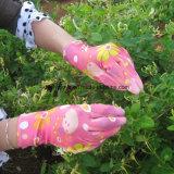 13의 계기 꽃 폴리에스테에 의하여 뜨개질을 하는 PU 입히는 장갑
