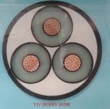 6/10kv isolation XLPE ou conducteur en cuivre en aluminium 3 câble d'alimentation de base