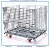 Stackable клетка крена ячеистой сети металла хранения пакгауза с колесами