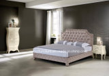 Klassische Luxuxschlafzimmer-Möbel-weiches ledernes doppeltes Bett