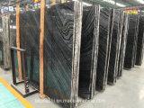 壁またはフロアーリングのための黒い静脈が付いている木製の穀物の大理石の平板